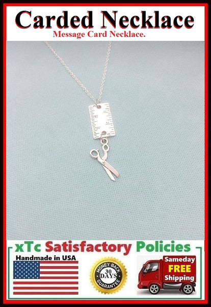 "Stylist Gift; Handcrafted Silver 1"" Ruler and Scissors Charm Necklace."