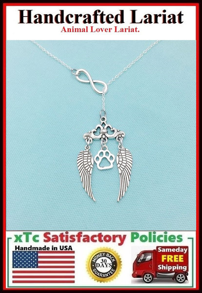 Paw Print between Guardian Angel Wings Dog Memory Remembrance Lariat Necklace.