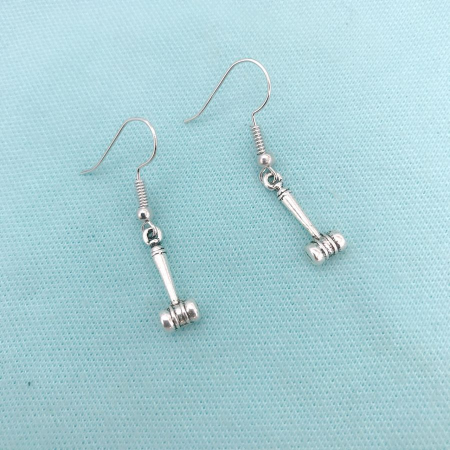 Gavel, Judge's Hammer Silver Charms Dangle Earrings. Attorney Judge Gift.