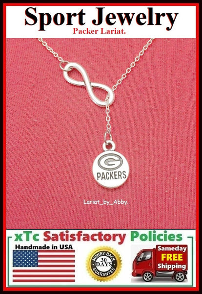 Packers Silver Handcrafted Lariat Necklace.