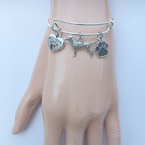 Labrador My Best friend Adjustable Charms Silver Bangle Bracelet.
