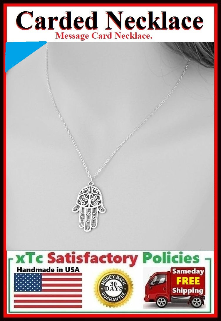 Divine Protection; Handmade Silver Hamsa Hand Charm Necklace.