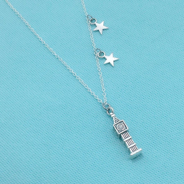 SECOND STAR TO THE RIGHT: Big Ben and 2 Stars Silver Necklace