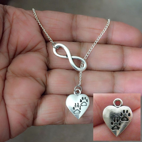 Paw Prints in Heart Necklace Lariat Style. ANIMAL LOVERS, VET TECH.