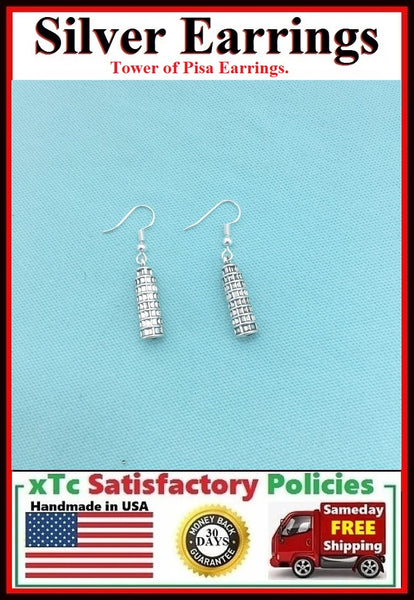 Italian Gift; ; Handcrafted Tower of Pisa Silver Earrings.