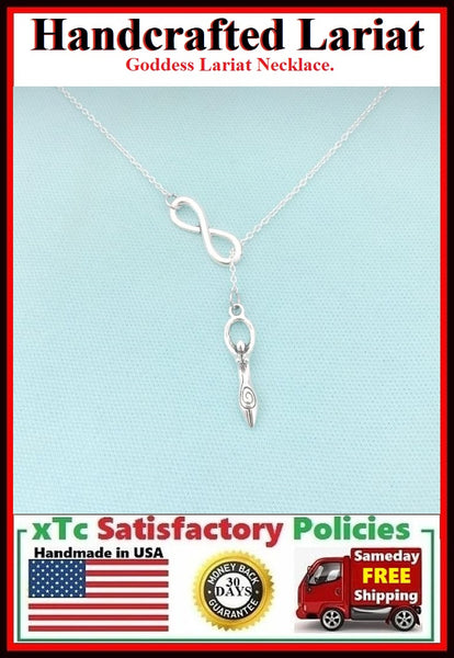 WICCAN GODDESS WITCHES PAGAN GODDESS Charm Lariat Necklace.