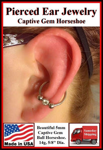 Sterilized Plain Surgical Steel CONCH Gem Horseshoe.