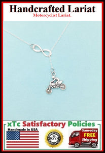 Motorcyclist or Sport Dirt Biker Necklace Lariat Style.