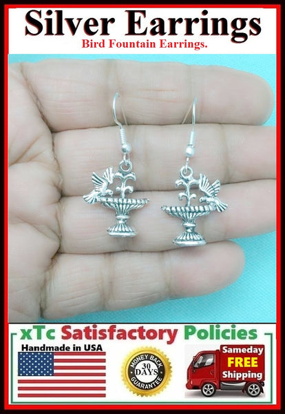 Beautiful BIRD FOUNTAIN Silver Dangle Earrings.