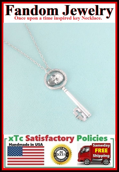 Once upon a time inspired Key Silver Charm Necklace.