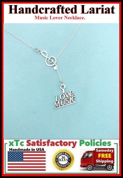 Music Lovers; I Love Music Lariat Style Necklace.