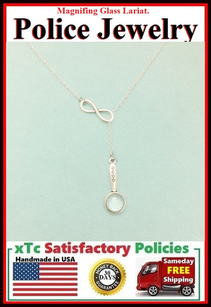 Detective MAGNIFYING GLASS Necklace Lariat Style.