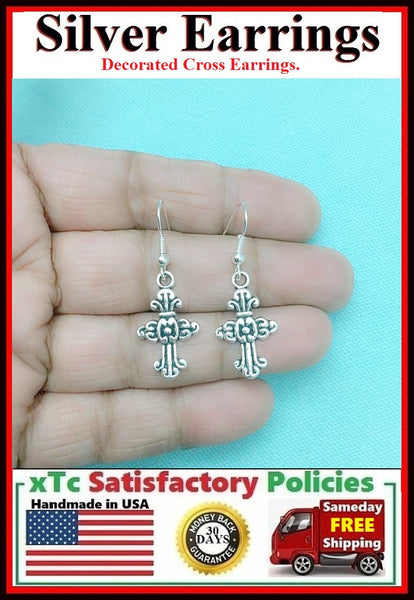 Beautiful Decorated CROSS Silver Dangle Earrings.