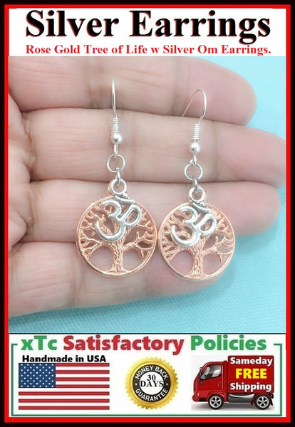 Gorgeous Rose Gold(EP) TREE OF LIFE with Silver OM Dangle ZEN Earrings.