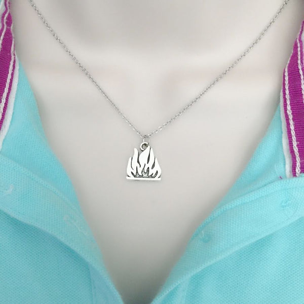 Firefighter Fire Flames Charm Silver Chain Necklace.