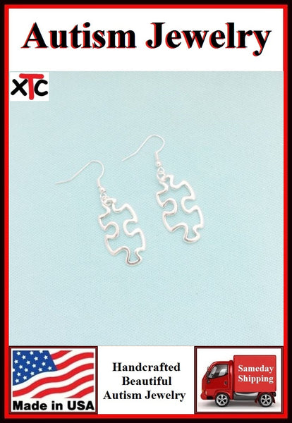 AUTISM Awareness Silver Hallow Puzzle Piece Charm Dangle Earrings
