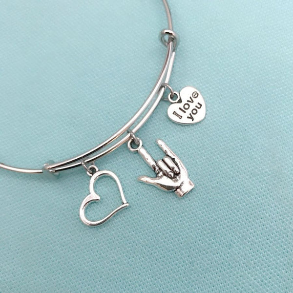 """I Love You"" in Sign Language Charms LOVER's Bangle. GF GIFT."
