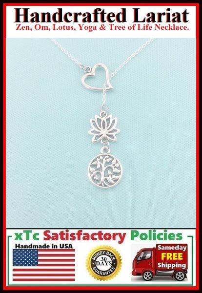 Gorgeous LOTUS and Hallow TREE of LIFE Lariat Style Necklace.