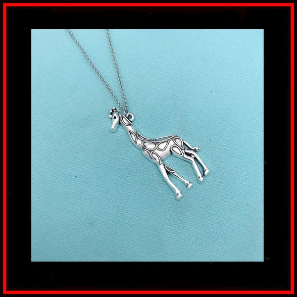 Beautiful Large Giraffe Charm Silver Chain Necklace