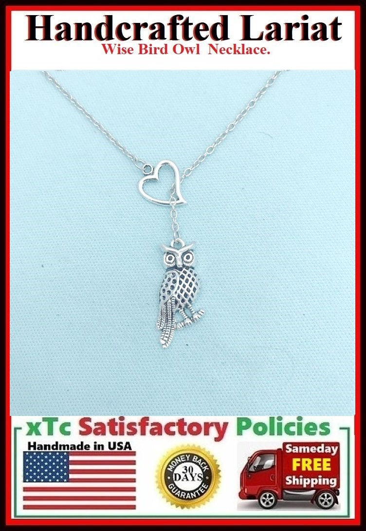 I Adore Owl Handcrafted Silver Necklace Lariat Style.