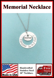 Handcrafted MOM Memorial Stainless Steel Necklaces.