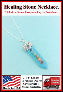 "Turquoise 2-1/4"" Crystal 7 Chakra Stones Necklace to Boost Healing."