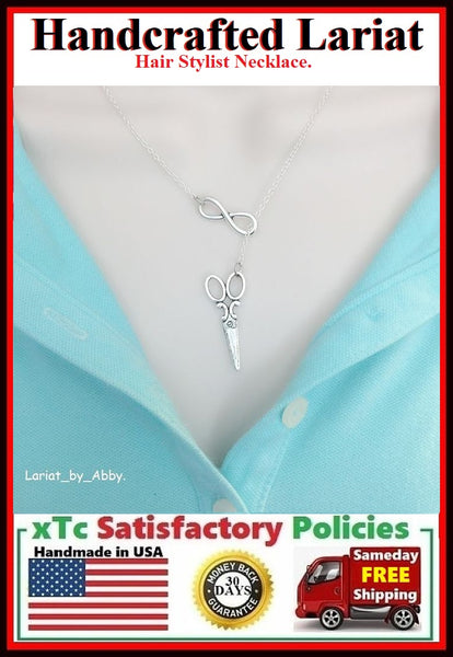Scissors & Infinity Charms Handcrafted Necklace Lariat Style.