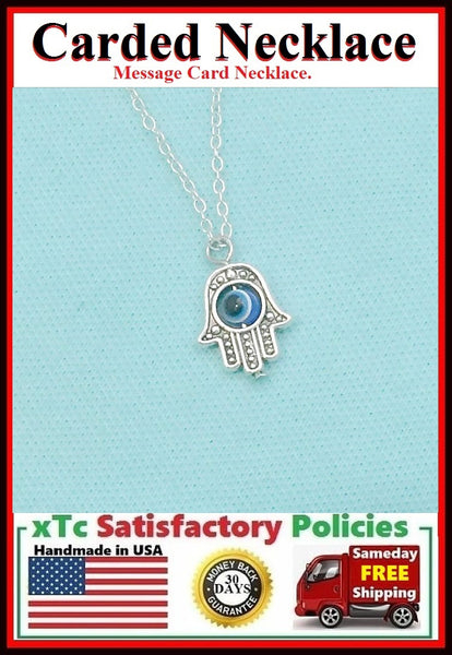 Divine Protection ; Handcrafted Silver Hamsa Hamd w Evil Eye Necklace.
