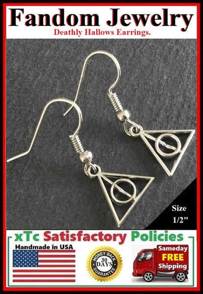 "Stunning Pair Silver 1/2"" Deathly Hallow Earrings."