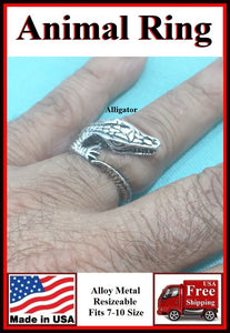 Alloy Metal Alligator Resizeable Finger Ring.