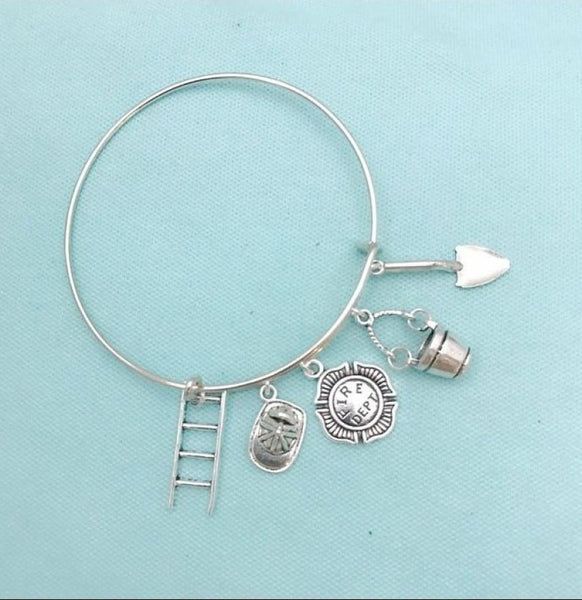 Gorgeous Handmade Fireman Charms Bangle.