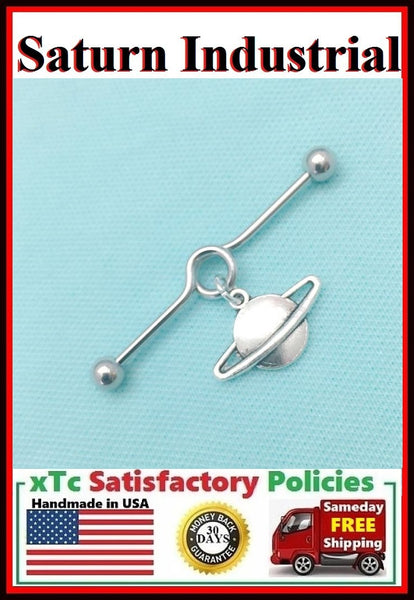 Beautiful Saturn Planet Charm Surgical Steel Industrial.