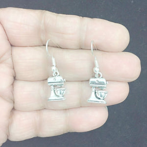 Cook, Chef Mixer Silver Earrings.