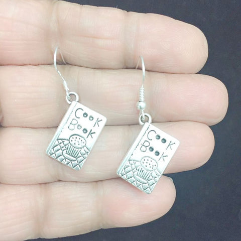 Cook, Chef Cook Book Silver Earrings.