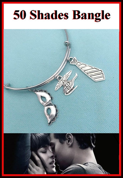 50 Shades of Grey Theme Charms Expendable Bangle