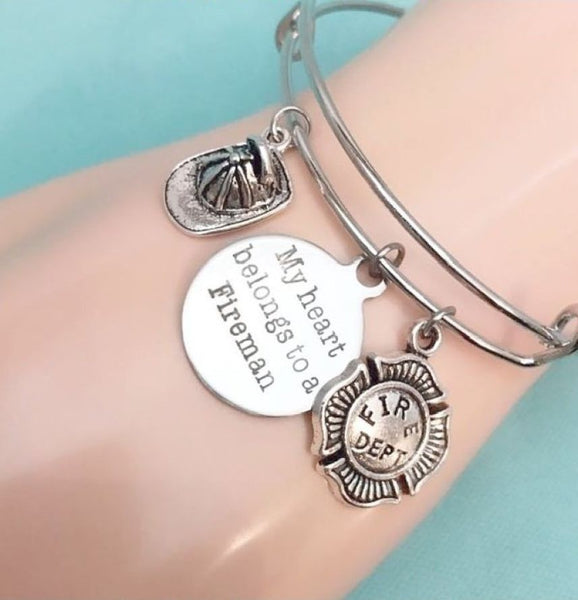 Beautiful Handmade Firefighter's Charms Bangle.