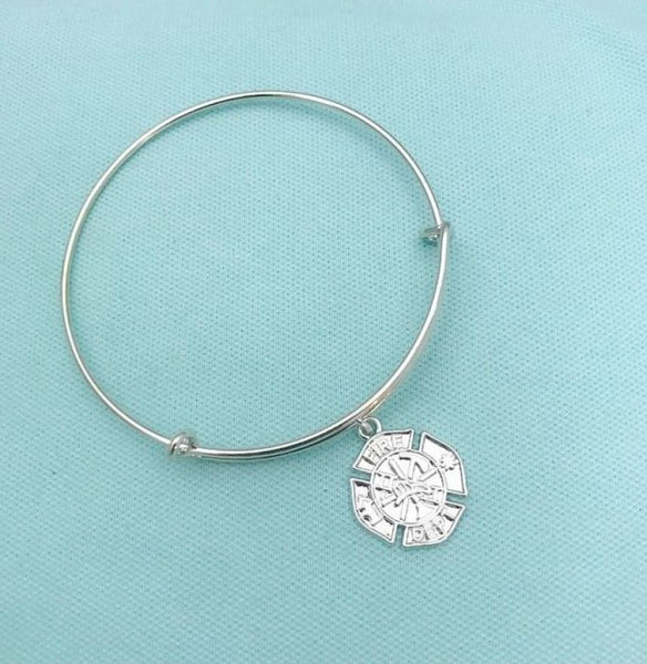 Beautiful Handcrafted Firefighters Charm  Bangle.