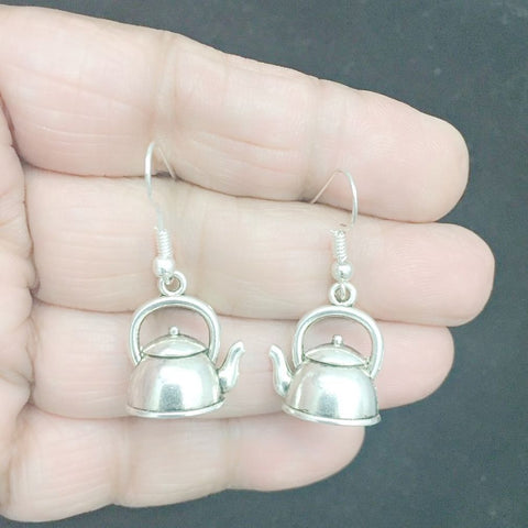 Cook, Chef 3D Tea Kettle Silver Earrings.