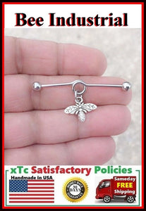Gorgeous Queen Bee Charm Surgical Steel Industrial.