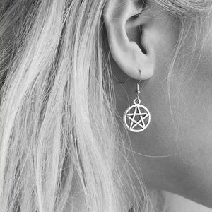 "Supernatural Pentacle 5/8"" Pentagram Silver Earrings."