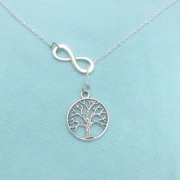 Handcrafted Tree of Life with Infinity Charms Necklace Lariat Style.