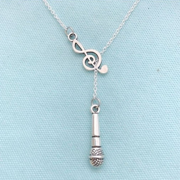 Beautiful Microphone Thru Treble Clef Necklace Lariat Style.