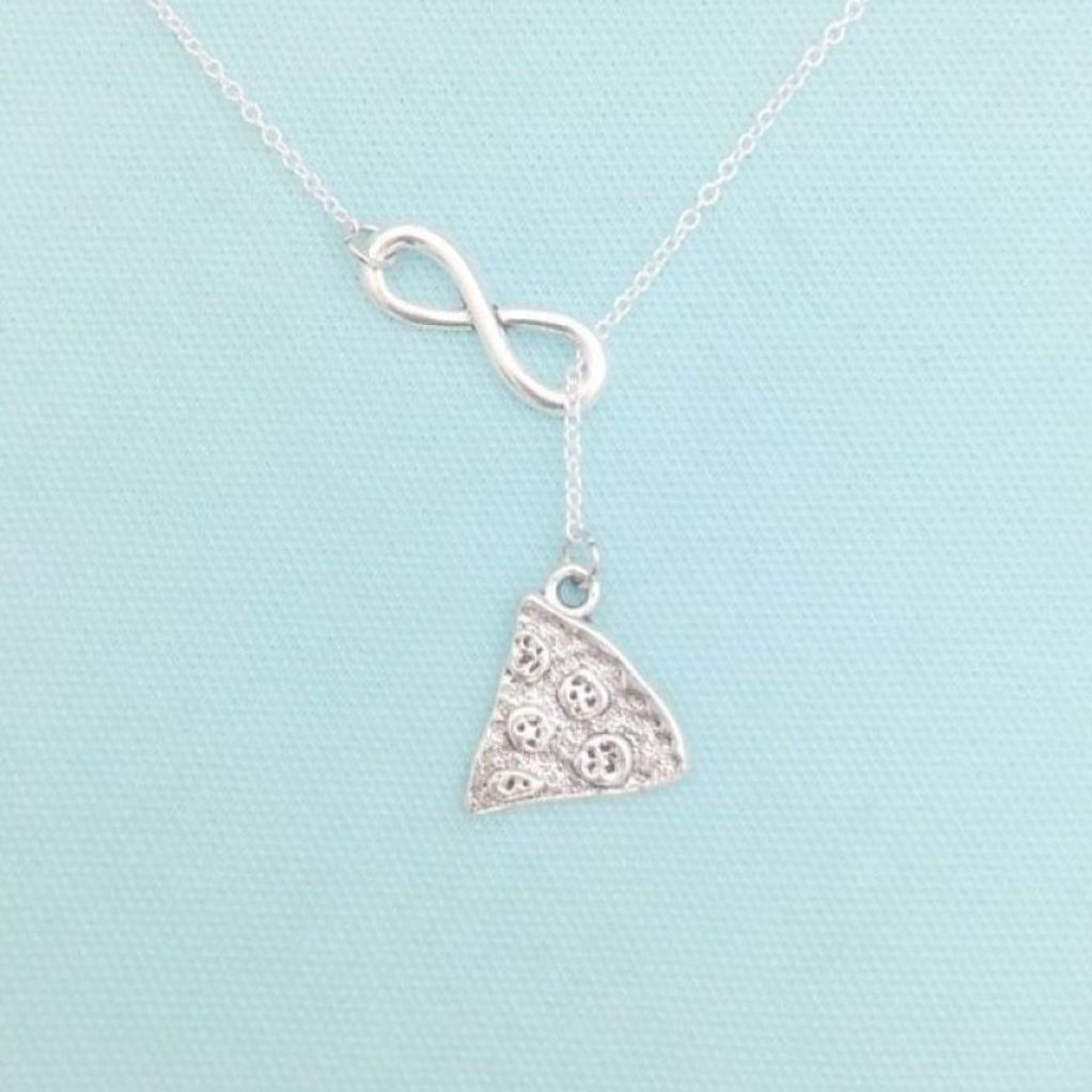 "Pizza with Pepperoni Silver Charm ""Y"" Lariat Necklace."