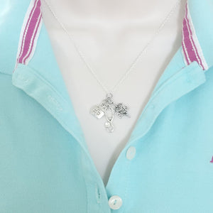 Nurse Cluster Charm Silver Necklace.