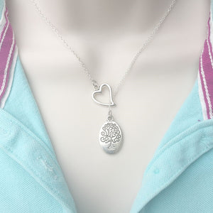 Celtic Tree of Life Silver Lariat Y Necklace.