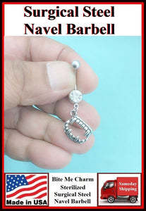 """Bite Me"" Vampire's Teeth Silver Charm Surgical Steel Belly Ring."