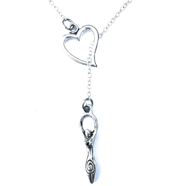 Love to be a  GODDESS Silver  Lariat Y Necklace.