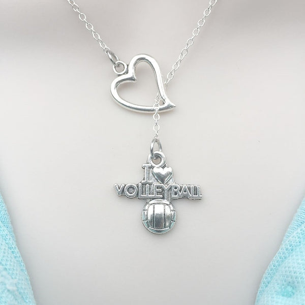 I Love Volleyball Silver Lariat Y Necklace.