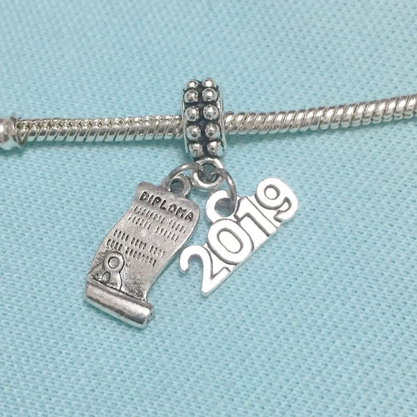 Diploma Open & 2019 Silver Bead For Charm Bracelets