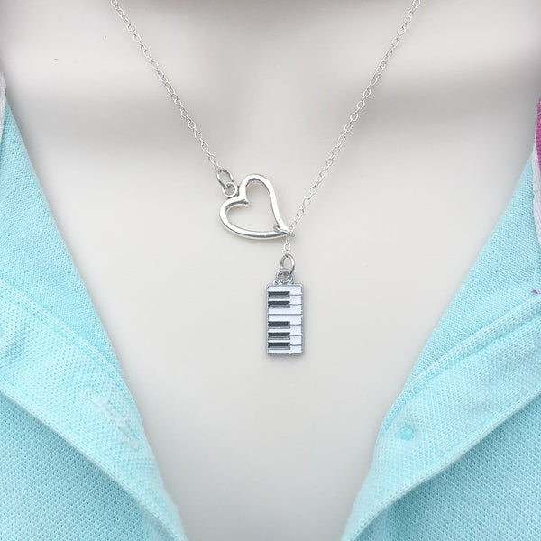 I Love Piano Silver Lariat Y Necklace.